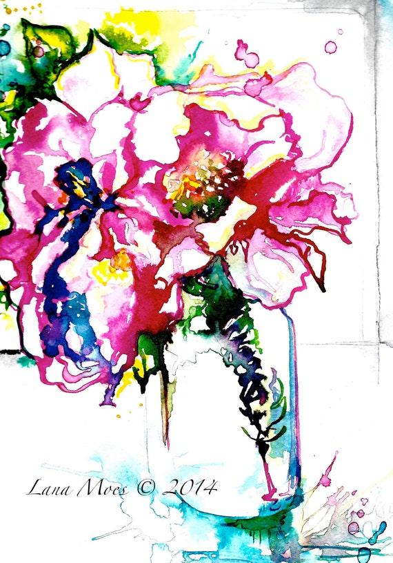 Pink Peony Original Abstract Watercolor Painting LanasArt