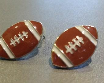 New Flat Epoxy Football Stud Post Earrings Sports