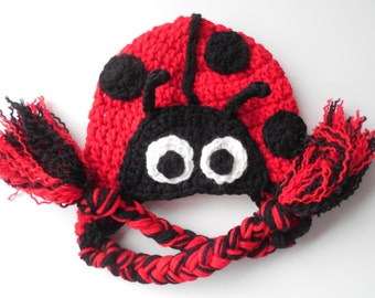 Baby Animal Hat - Lady Bug Baby Hat - Photo Prop - Red and Black - Handmade Crochet - Made to Order