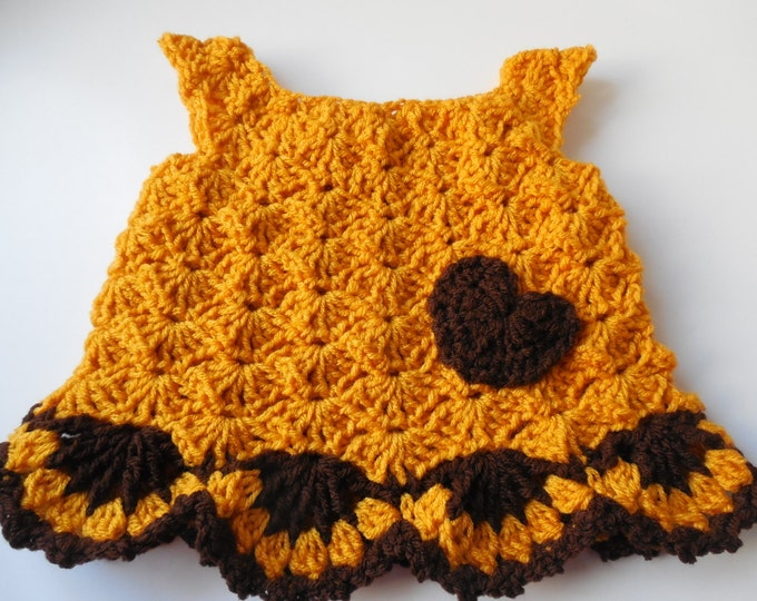 Baby Dress - Baby Blouse - Gold and Brown - Handmade Crochet - Ready to Ship