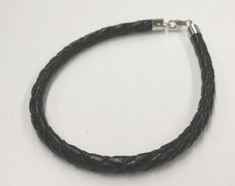 1 PC, Black Genuine Leather Bracelet Cord (4mm), White Gold Vermeil End Tube Teardrop Clasp, DIY Jewelry Supplies