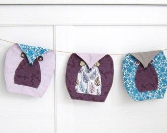 Owls Bunting (5), Baby Shower Garland, Owl Nursery Bunting, Lavender Owls Bunting, Owl Garland