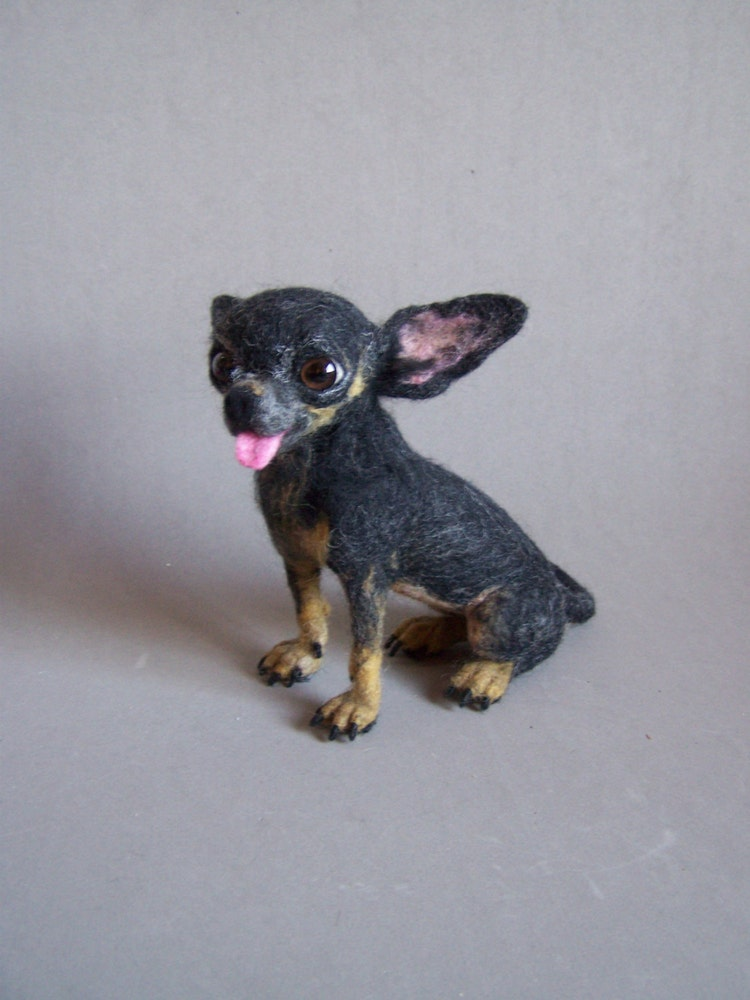 Custom Needle Felted Realistic Chihuahua Toy Dog By