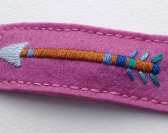 Embroidered Arrow Hair Clip - Hand Embroidery on Wool Felt