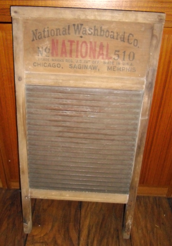 Antique Glass Washboard National Washboard No 510 Vintage