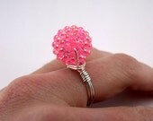 Bead and Wire Ring - Pink Bead & Silver Plated Wire