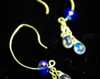 Brass and Crystal dangle earrings