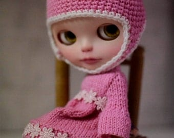 Blythe  knitting dress and hat