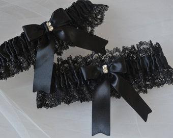 Garter Set Wedding Garters Black Garters Lace Garters Bridal Garters