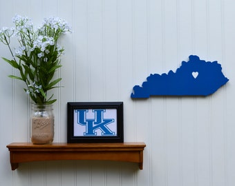 """Kentucky Wildcats  """"State Heart"""" wall art, handcrafted wood with official team colors"""