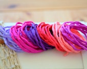 Hand dyed Silk Cords  - Set of 6 - bright pink purple silk strings