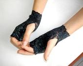 Black Lace fingerless gloves,Peacock green glittery Wedding Gloves