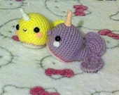 Crochet Amigurumi Kawaii Magical Narwhal Pair