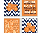 Construction Trucks Art Print Set - Orange Navy Blue Chevron - You Are My Sunshine Quote - Boy Rules - Wall Art Home Decor -   Prints
