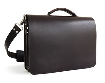 """15.25"""" Handmade Messenger Bag, Full-Grain Leather"""