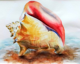 Original watercolor painting of a Queen Conch Shell on the beach in neutral colors