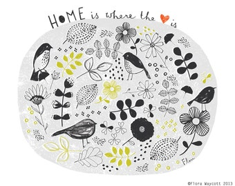 """Home is where the Heart is 8 x 10"""" giclee print"""