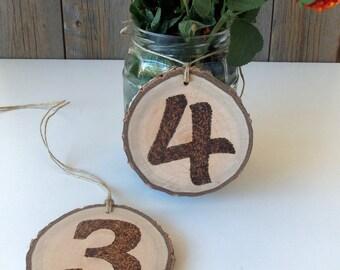 12 Wedding Table Numbers - 12 Rustic Table Numbers - 12 Branch Table Numbers - 12 Party Table Numbers - Burned Wood Table Numbers.