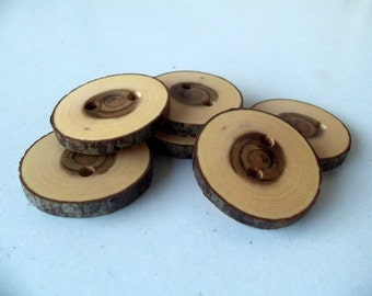 New - Wood Buttons - Branch Buttons -  Slim Handmade Wood Buttons - 6 large Handmade Judas Tree branch buttons - 1 2/5 inches in diameter.