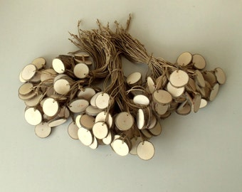New - 150 Blank White Tree Branch tags, - Wedding Decor - Shop Tags - 1 2/5  - 1 3/5 inches in diam.