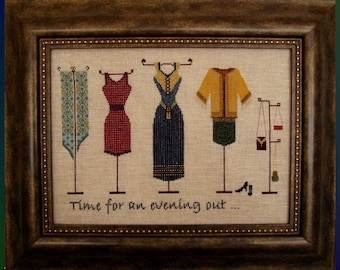 An Evening Out! Counted Cross Stitch Chart. Evening Dresses. Shop Window. Accessories. Clothing Design. Decor. DIY. Direct Checkout.