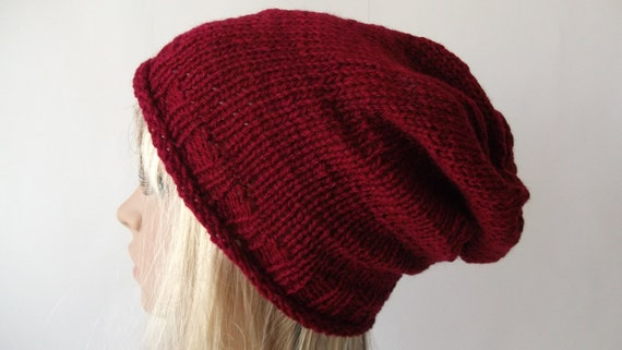 Knitting Pattern For Loose Beanie : Big Loose Beanie Slouchy Hat Handknit Knitted by ...