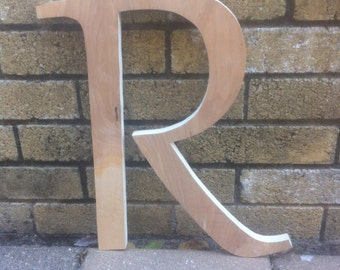 11 to 16 Inch Unfinished Wooden Letter - R