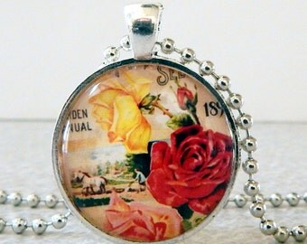 Red Rose Pendant, Red Rose Necklace, Glass Pendant Necklace, Vintage Roses Seed Packet, Vintage Rose Jewelry, Shabby Roses Pendant