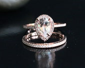 14k Rose Gold 9x6mm White Topaz Pear and Diamonds Engagement Ring And Wedding Band Set (Choose color and size options at checkout)