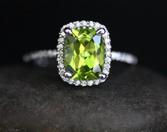 Cushion Peridot and Diamond Ring in 14k White Gold with Peridot Cushion 9x7mm and Diamond Halo Ring
