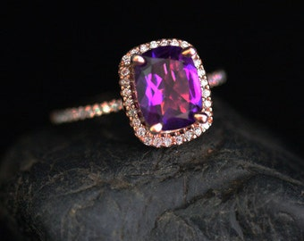 Cushion Amethyst Rose Gold Ring Amethyst Engagement Ring in 14k Rose Gold with Amethyst Cushion 9x7mm and Diamond Halo