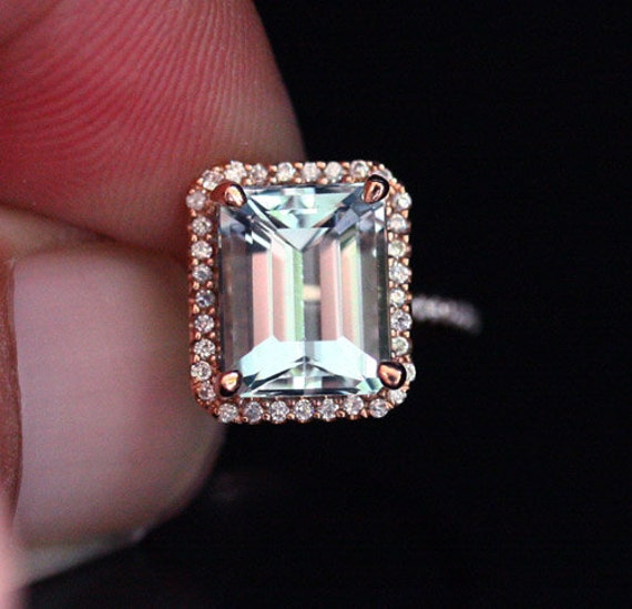Natural Aquamarine and Diamond Engagement Ring 14k Rose Gold with Aquamarine  Emerald Cut 10x8mm and Diamonds