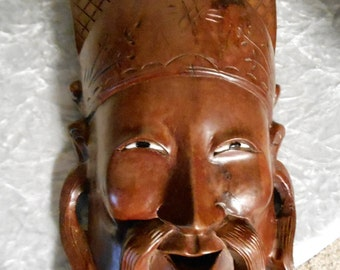 1910's Exotic Hand Carved Wooden Mask