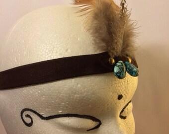 Tribal headband - Leather headband, Tribal clothing