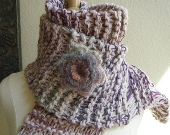 Long knit scarf with removable Mohair Flower.  Women or teens.