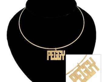 Necklace Choker Bangle Name Peggy Sue Jane Barb Carol Gold Tone Vintage 70s