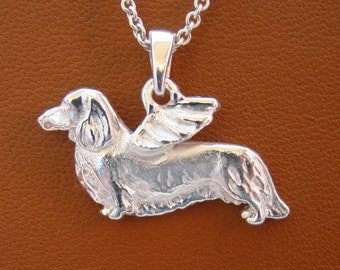 Sterling Silver Long Haired Dachshund Angel Pendant