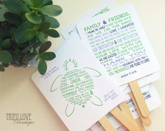 Sea Turtle | Seaside | Beachside Wedding Ceremony Program Fan - Fully Customizable Wording & Ready-to-DIY Kit (QTY 30+)