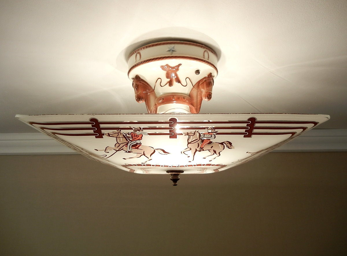Vintage 1950u0026#39;s WESTERN Ceiling Light Porcelain Horse
