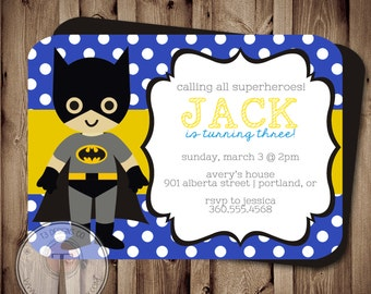 SUPERHERO Birthday Invitation (BIRTHDAY INVITATION) super hero birthday invitation, bat heroes, superheroes birthday invite