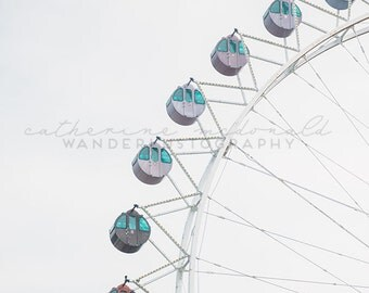 Ferris Wheel II - Photographic Print - white, wanderlust, travel, Decor, art, Korea, Wall, Hanging, nursery, baby, unisex, girl