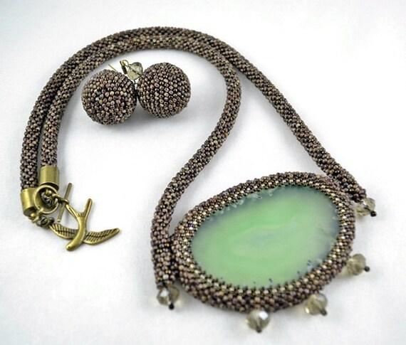 Happy tree bark bead embroidery necklace beadwork by