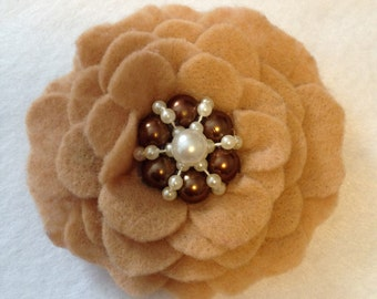 Light Brown/Taupe/Tan Felt Flower Clip/ Hair Clip/ Hair Bow