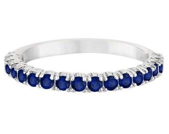 Half-Eternity Pave-Set Blue Sapphire Stacking Ring Palladium (0.95ct)