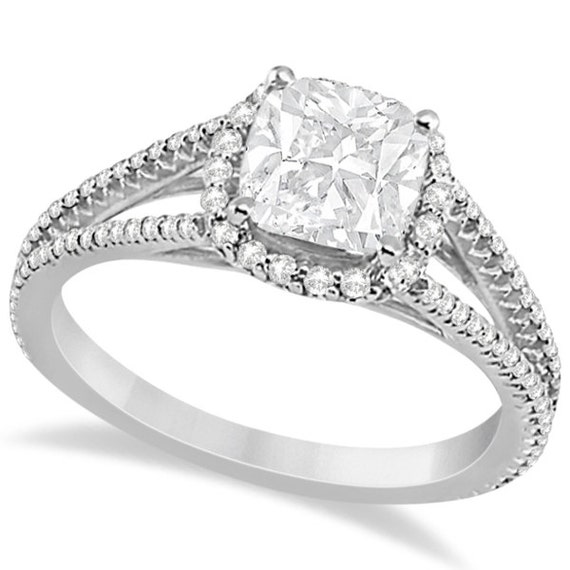 Split Shank Cushion Cut Diamond Engagement Ring Halo by Allurez