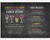 Chalkboard Bachelorette Invitation - Printable - Drinks, Bachelorette Party, Girls Weekend, Bachelorette Itinerary