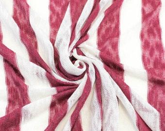 "1 1/2"" Burgundy Off White Stripe Sweater Knit Fabric - 1 Yard Style 6269"