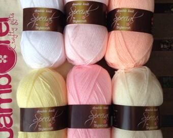 Granny stripe crochet blanket kit DK 'Sorbet' - pastel pink and yellow