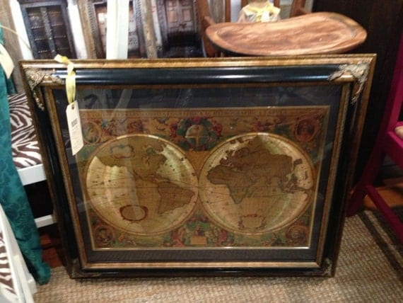 Manifestations Inc Old World Maps Antique Large Frame Black