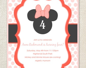 Minnie Mouse pink dot birthday party invitations